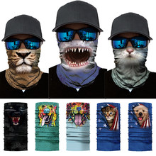 Seamless Magic Bandana Animal Shark Tiger Neck Warmer Tube Shield Gaiter Scarf Mask Face Headband Snowboard Bicycle Headwear