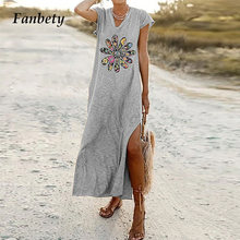 Women Fashion Flower Print Beach Long Dress 2021 Summer Elegant V-Neck Split Party Dress Casual Loose Short Sleeve Dress Vestido