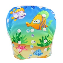 Купить с кэшбэком Ohbabyka 2016 Brand Swimming Diapers for Infants Nappies Adjustable Washable Swim Diaper Cover Cloth Pant Reusable Baby Swimwear