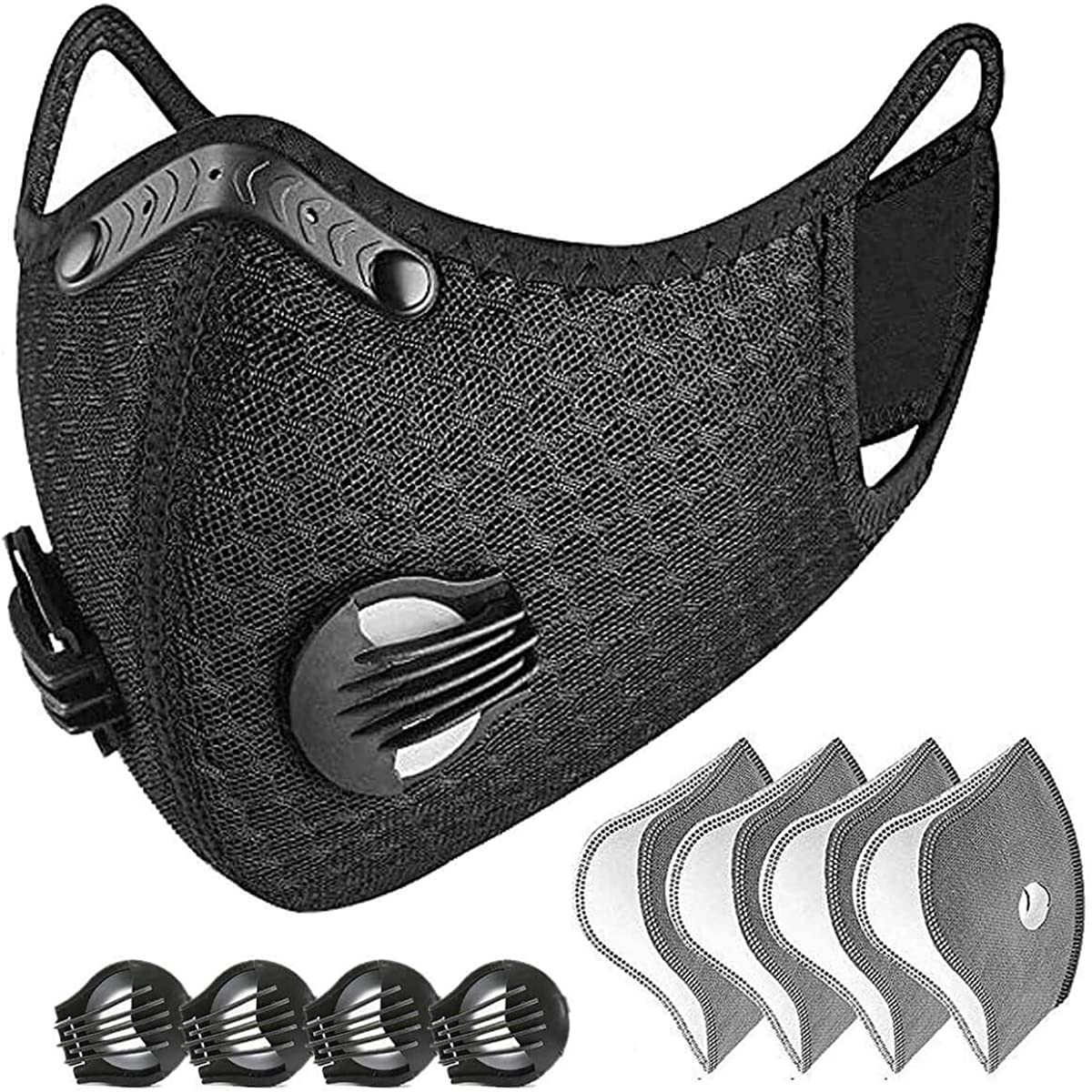 # H30 poussière avec 4 filtres 4 soupapes d'échappement demi-visage réutilisable étanche à la poussière respirateur vélo masque cyclisme masque respiratoire