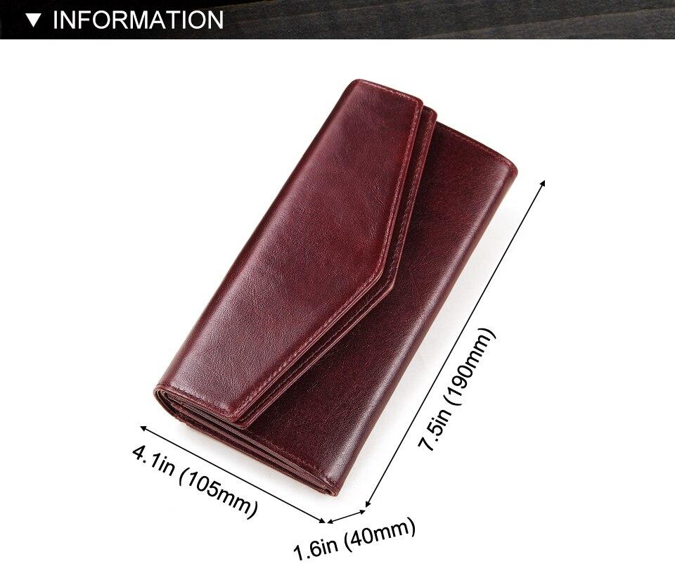 couro estilo longo multi-funcional moeda bolsa portomonee