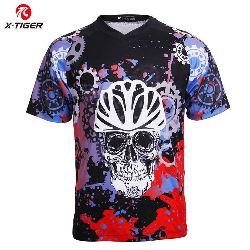 X-Tiger 100% poliester Downhill Jersey rower szosowy wyścigowy DH koszula Quick-Dry jazda na rowerze koszulki z krótkim rękawem MTB odzież rowerowa