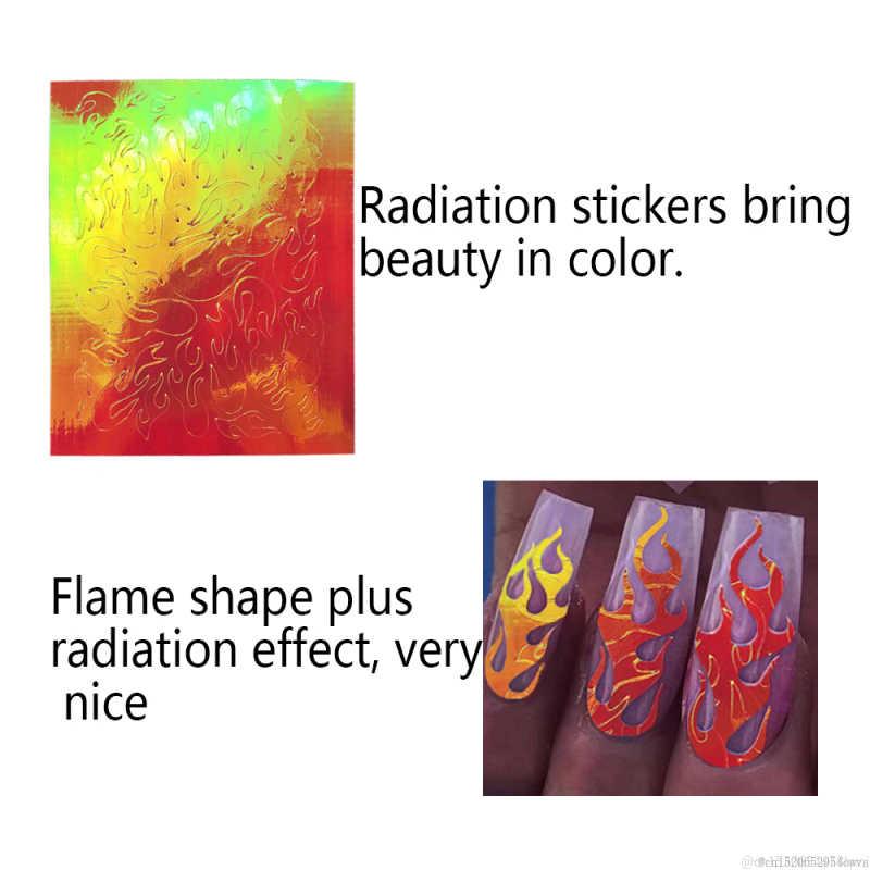 16/1Pcs Hologram Api Nail Stiker DIY Kebakaran Di Manikur Stensil Stiker Vinyls Stensil Berongga Stiker Kuku alat Seni