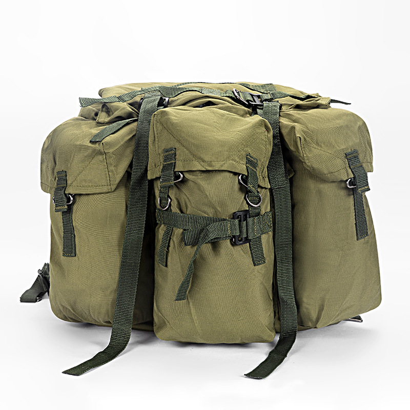 Retro Outdoor Backpack Canvas Bag Drawstring Leather Travel Backpack Army Green Waterproof Computer School Bag Men's