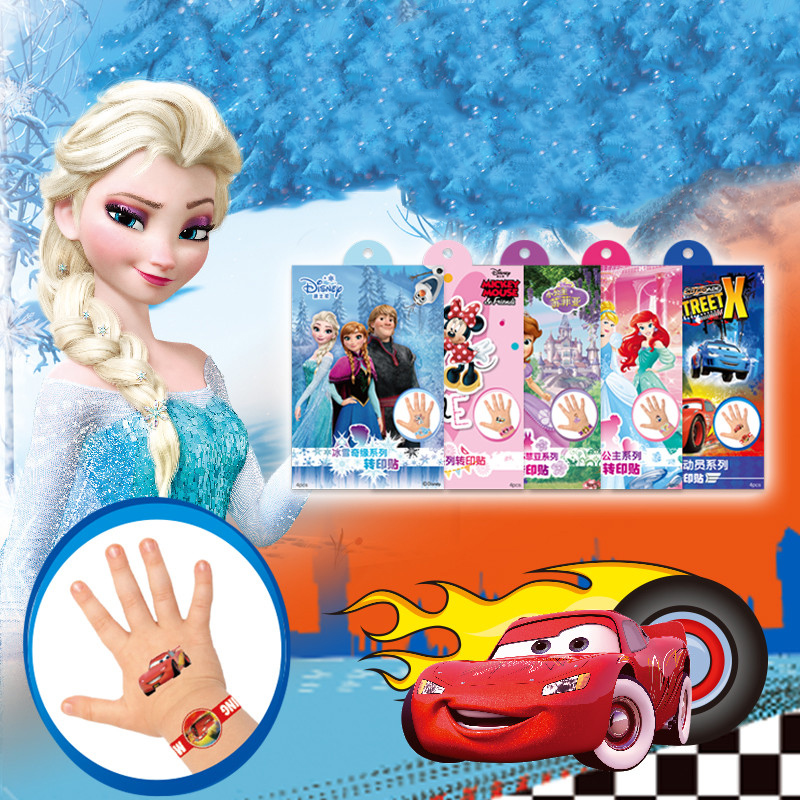 1 Pcs Disney Children's Cartoon Temporary Tattoos Cartoon Girls Frozen Princess Tattoo Paper Boy  Avengers Flash Tattoo Stickers