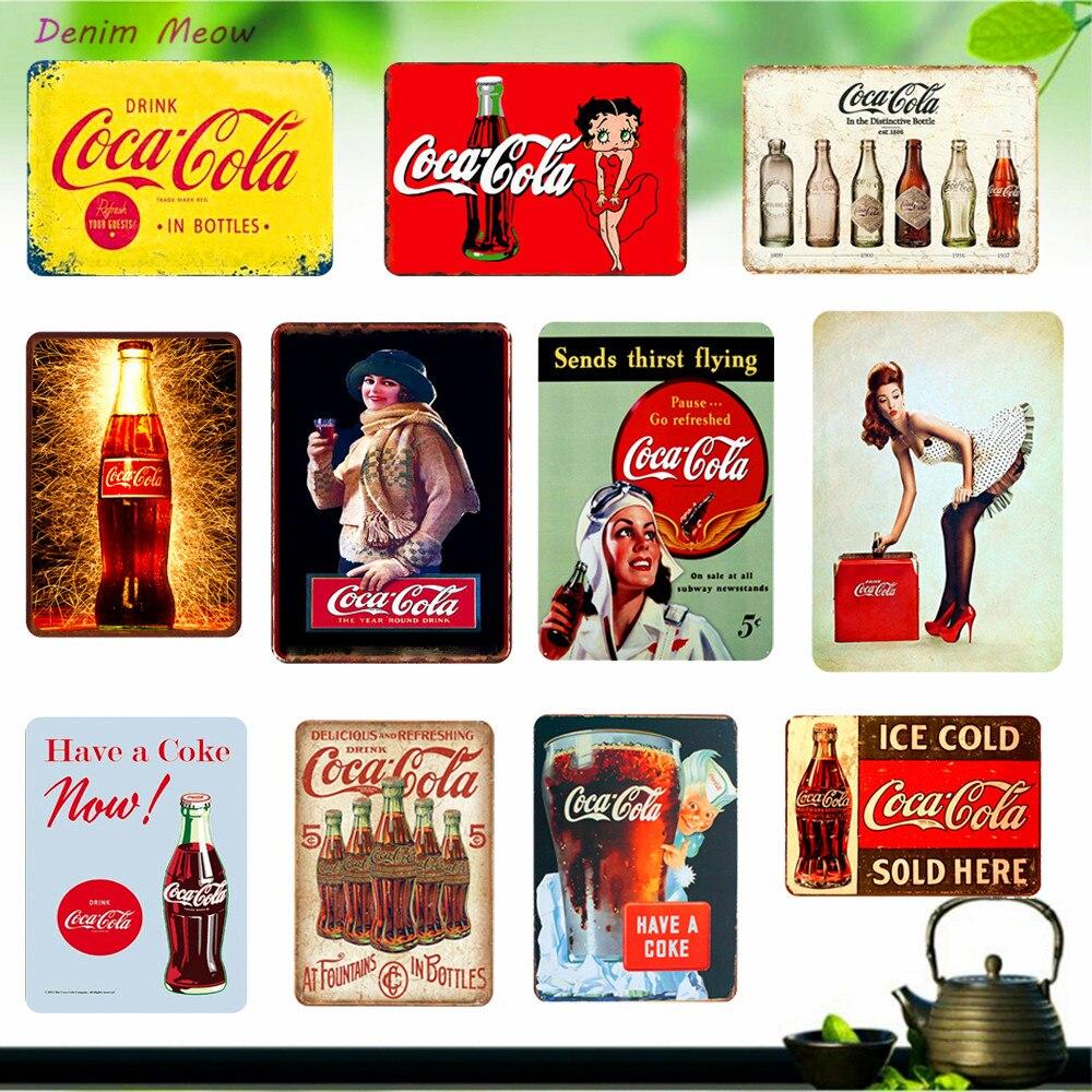 Glaçons boissons froides Plaque Vintage Cola métal affiches Shabby Chic Stickers muraux pour Pub Bar café Club étain signe décor à la maison WY21