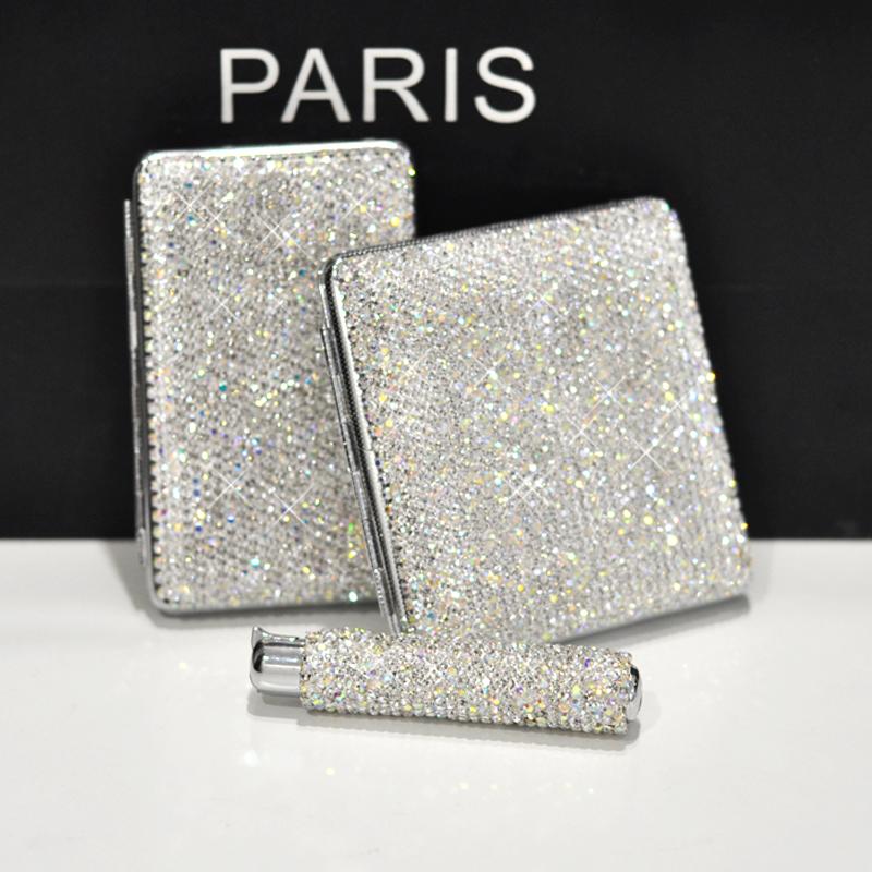 Luxury Crystal USB Charging Lighter Double sided Diamond No gas Electric Lighters Rhinestones Cigarette Case Holder for Women|Cigarette Lighter| |  - title=