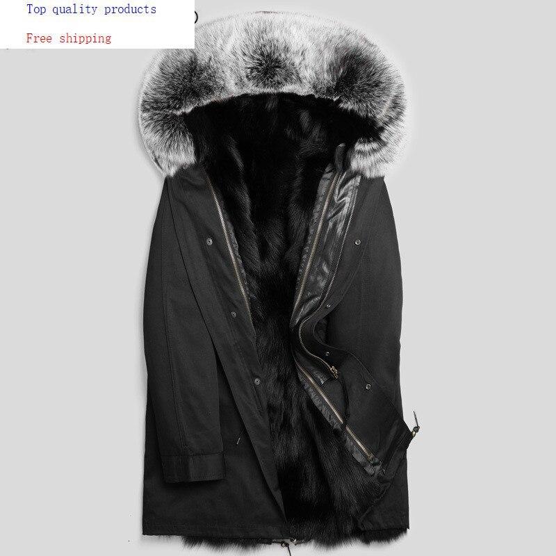 Parka Real Fur Coat Men Clothes 2020 Winter Jacket Real Fox Fur Liner Warm Parkas Plus Size Luxury Jackets P1888232