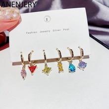 ANENJERY – ensemble de boucles d'oreilles en Zircon pour femmes, 6 pièces, couleur délicate, forme géométrique asymétrique, bijoux couleur or