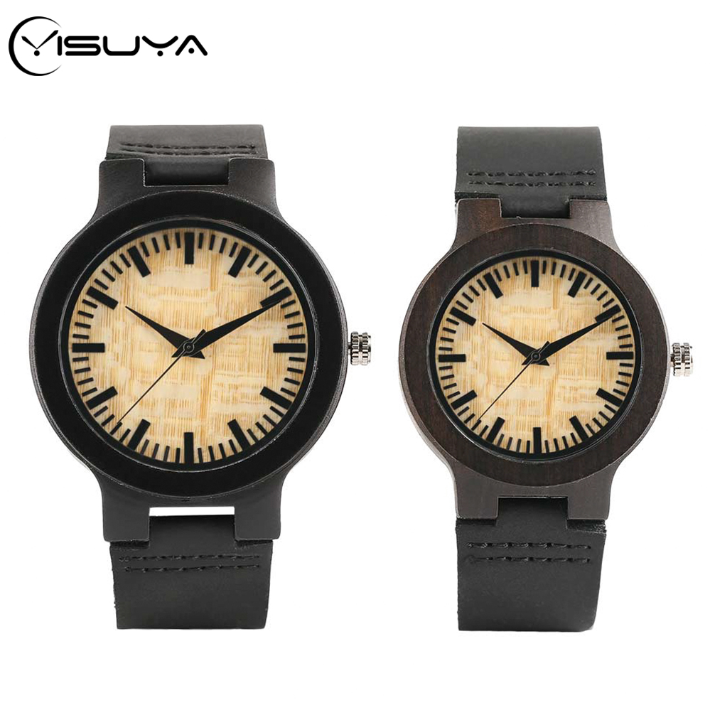 YISUYA Couple Wood Watch Chic Royal Beige Dial Ebony Wooden Leather Quartz Wristwatch Ideal Valentine Gifts Items Drop Shipping