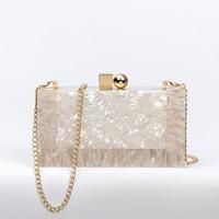 Shoulder Messenger Bag Business Style Acrylic Twill Matte Processing Fine Workmanship Tortoise Rose Gold Shoulder Messenger Bag