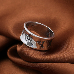 Image 4 - Om Ring Mani Padme Hum 100% Real Pure 925 Sterling Silver Jewelry Ring For Women And Men Thai Silver Vintage Handmade Jewelry