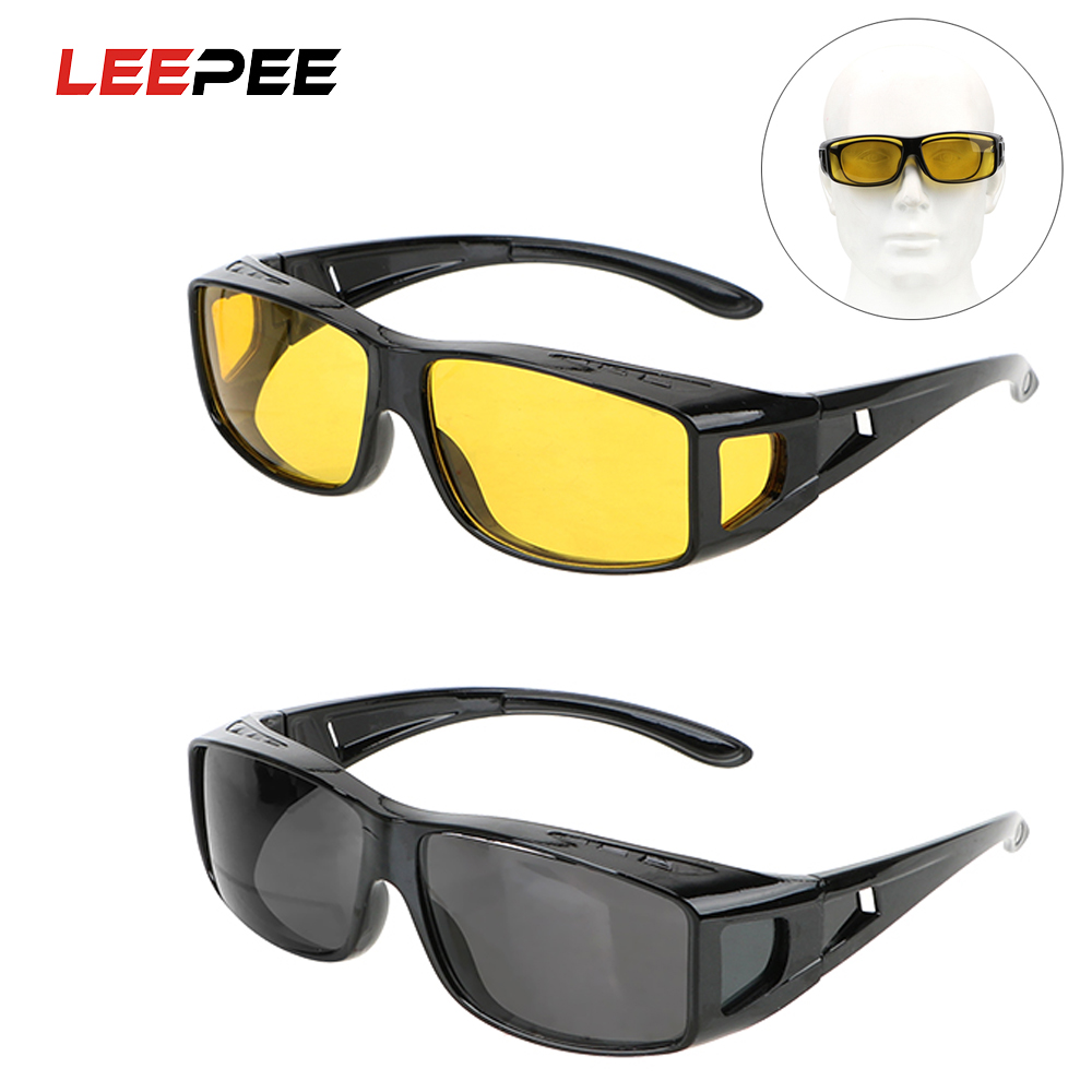 LEEPEEHD Night Vision Goggles Sunglasses Fits Over Your Prescription Glasses Eyewear Car Driving Glasses Driver Goggles