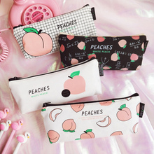 New Canvas Fruit Peach Pencil Case School Cases For Girl Stationery Bag Supplies Students Gifts