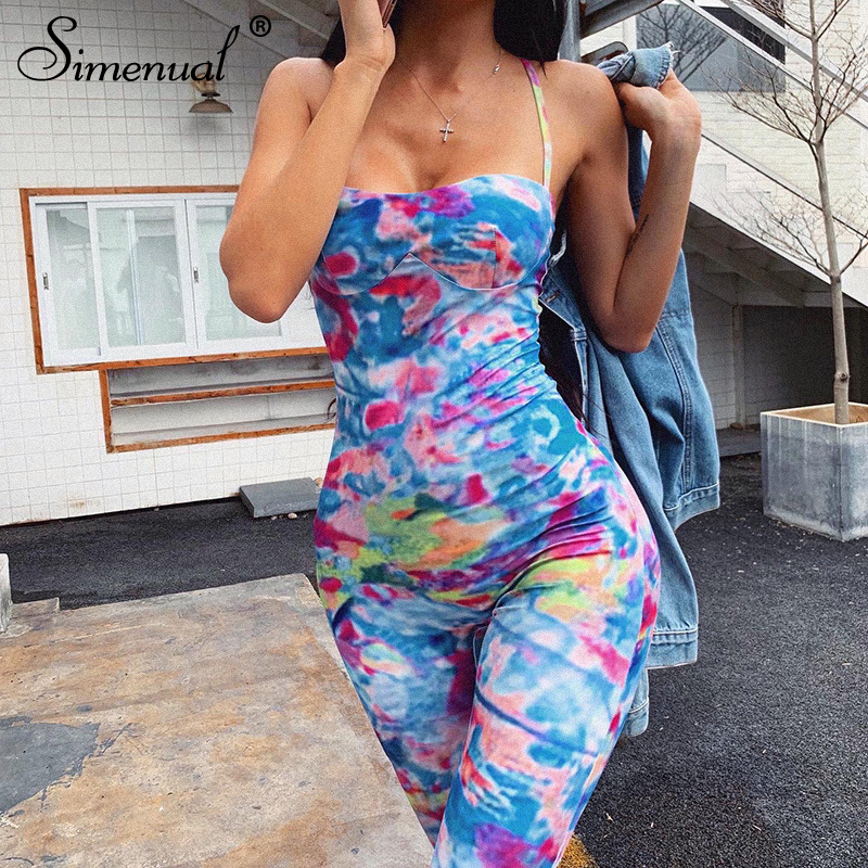 Simenual Tie Dye Skinny Rompers Womens Jumpsuit Strap Sleeveless Workout  Active Wear Fashion Jumpsuits 2020 Summer Casual Slim