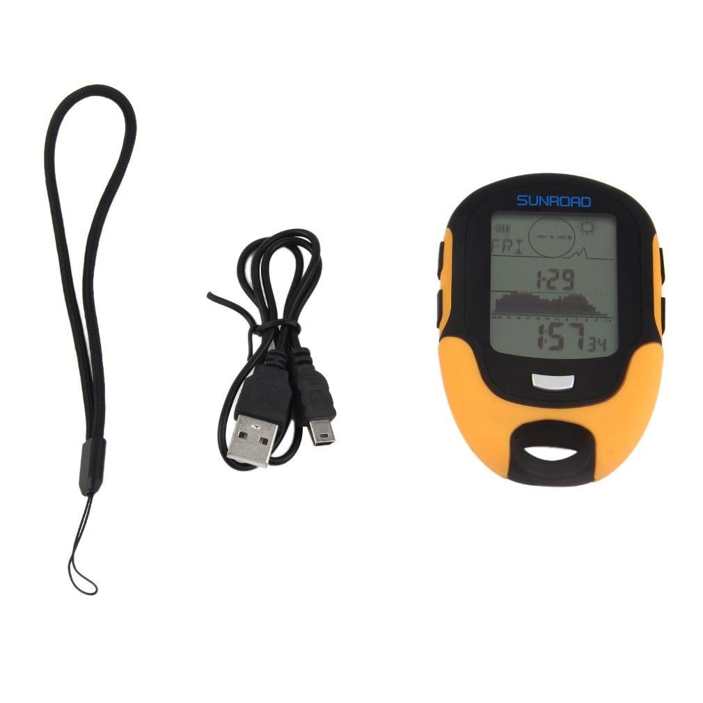 Multifunctional FR500 Portable Digital Altimeter Waterproof LCD Screen Display Outdoor Use Barometer Device Orange & Black