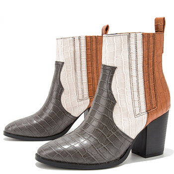 2020 Fashion Short Boots 8CM Thick High Heeled Blue Gray Print Girl Women Ankle Boots Size 36-43