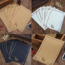 8 листов записи стационарная крафт-бумага винтажный Ретро милый дизайн животное олень Письмо Бумага для офиса школы поставщиков