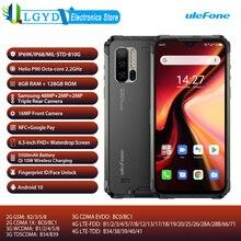 Ulefone درع 7 العالمي 4G الهاتف المحمول بصمة الوجه فتح 6.3 بوصة شاحن هاتف محمول يعمل بنظام تشغيل أندرويد 128GB 8GB NFC FCC المزدوج سيم جوجل اللعب