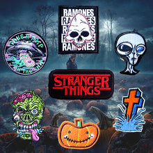 Nicediy Stalker UFO Embroidered Stripe Patches Badge Iron on Clothes Patch For Clothing Stranger Things Sticker Applique Decor