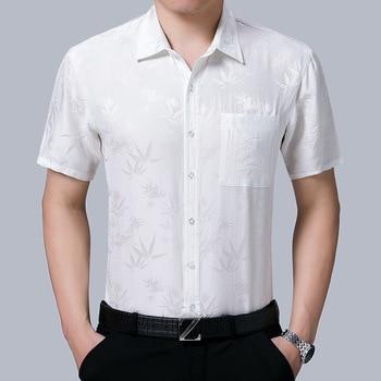 2020 New Summer 100% Silk Dress Men White Short Sleeve Shirt Shirt Formal Shirts for Men High Quality Gentlemen Camisas KJ1951