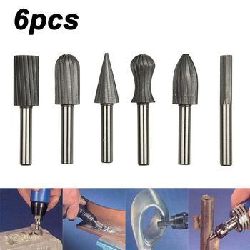 цена на 6pcs HSS Rotary Burr Set Rotary Tools Drill Bit Set Cutting Routing Router Grinding Bits Milling Cutters for Wood Carving Tool
