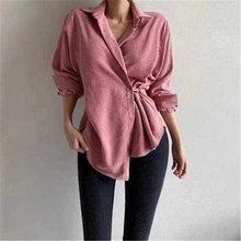 Осень 2020 Модный Ретро дизайн нерегулярные вельветовые рубашки