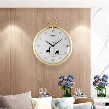 Europe Creative Silent Wall Clocks Antler White Round Hanging Watch Modern Design Metal Pointer Kitchen Clock Free Shipping