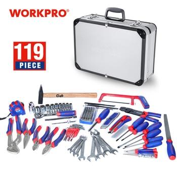 цена на WORKPRO 119PC Home Tool Set with Aluminum box Tool Kits Household Tool Set Hand Tools