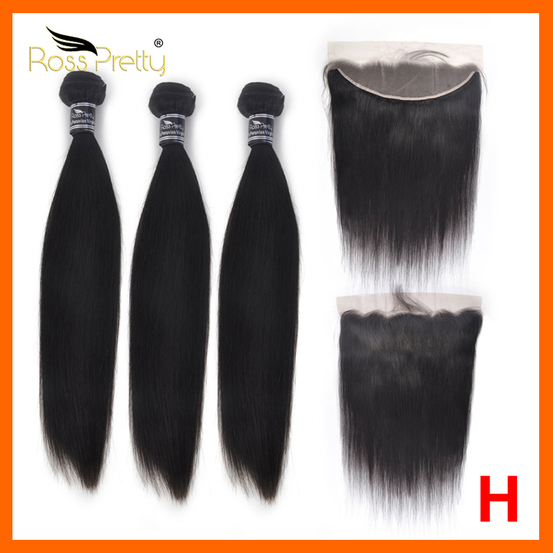Ross Pretty Hair Straight Natural Color 3 Bundles With Lace Frontal 13X4 Transparent Lace Front Remy Human Hair With Baby Hair
