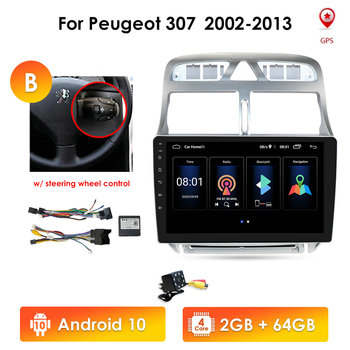 2din Android 10 Car DVD Multimedia Player Stereo For Peugeot 307 307CC 307SW 2002-2013 Car Radio GPS Navigation WiFi Bluetooth image