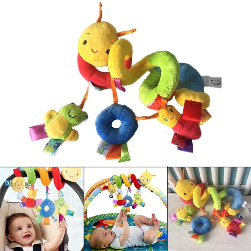 Baby Mobile Crib Music Toy Kid Crib Cot Pram Ringing Bed Bells Spiral Rattles Toys S55