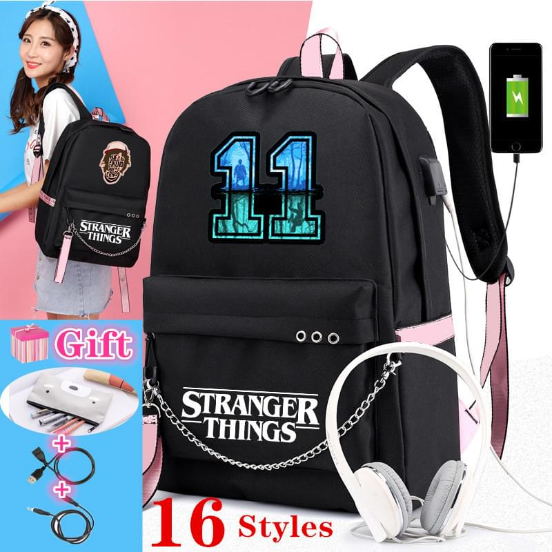 Canvas Backpack School-Bags Travel Rucksack Leisure-Chain Stranger Things Girls College