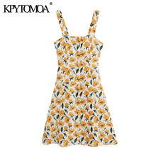 KPYTOMOA Women 2020 Chic Fashion Floral Print Buttons Mini Dress Vintage Backles