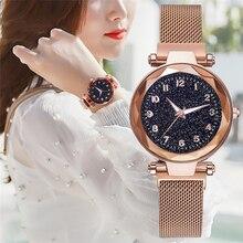 лучшая цена Luxury Women Watches Fashion Ladies Starry Sky Quartz Clock New Popular Magnetic Mesh Female Wristwatch 2019 Best Watch for Gift