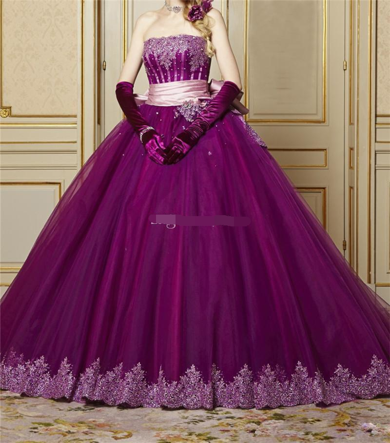 2019 Lace Strapless Quinceanera Dresses Ball Gown Court Train For Party Lace Up Back Court Train Pageant Gown Vestidos De 15