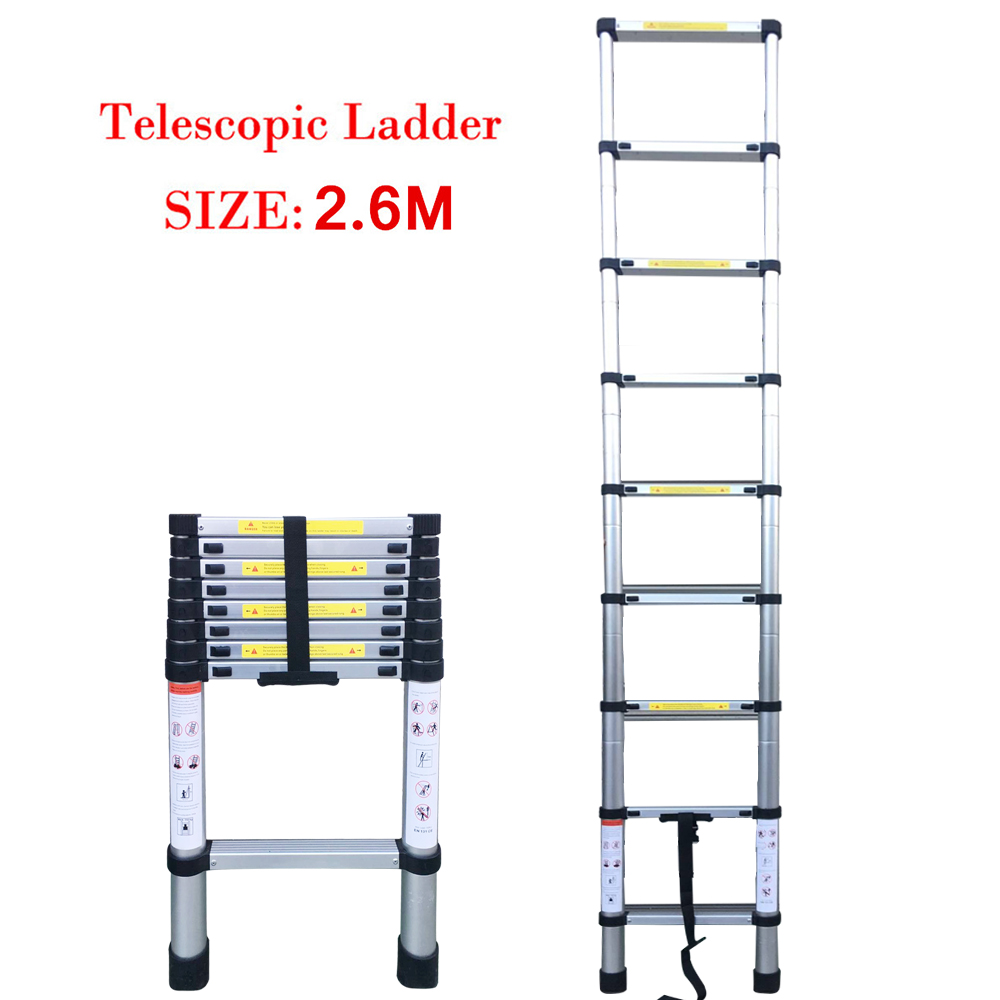 8.53FT(2.6m) Extendable Telescoping Aluminum Portable Ladder  9 Steps Extension Ladders With Locking Mechanisms Safety