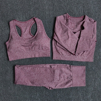 3pcsSetWine - Women Seamless Yoga Set Fitness Sports Suits