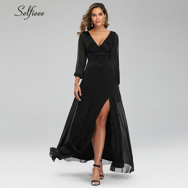 Sexy Maxi Dress A-Line V-Neck Long Sleeve Side Split Ruched Sparkle Formal Party Dress Women Fashion Dress Long Ropa Mujer 2020 3