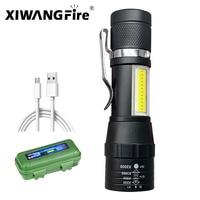 Linterna LED portátil XPE COB, linterna recargable con batería integrada, Zoom, linterna de emergencia impermeable de 3 modos