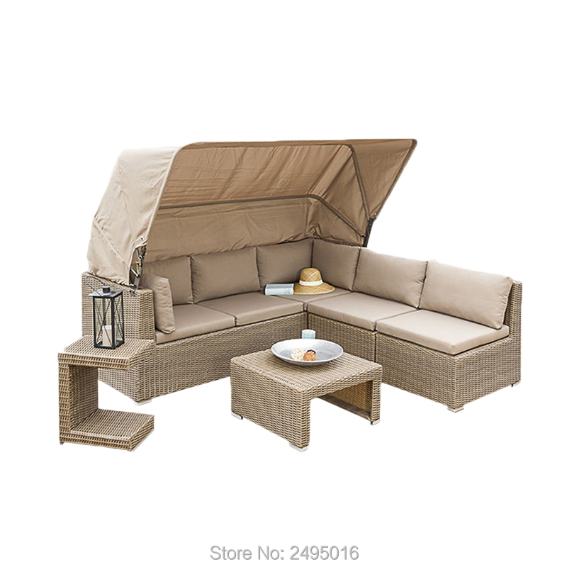5pcs Outdoor Patio PE Rattan Wicker Sofa Sectional Daybed Furniture Set With Cushion, Tea Table And Canopy