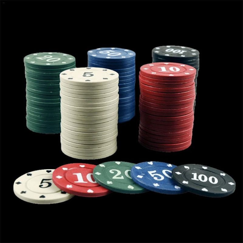 100pcs Round Plastic Chips Casino Poker Card Game Baccarat Counting Accessories-2