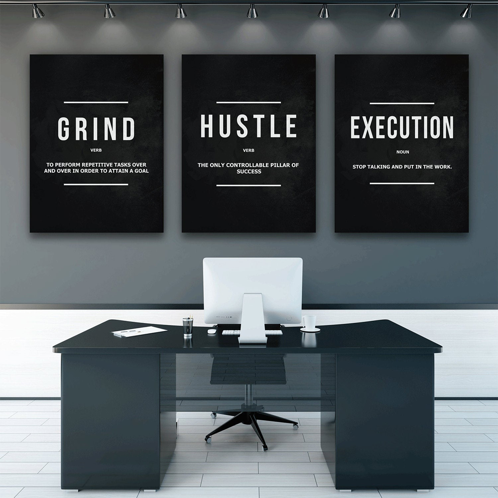 3 Pieces Grind Hustle Execution Wall Art Canvas Prints Office Decor Motivational Modern Art Entrepreneur Motivation Noun Verb