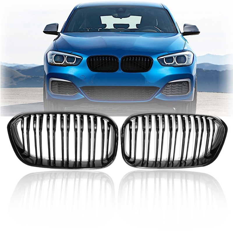 Front Racing Grill for BMW F20 F21 1 Series 2015 2016 2017 Sports Double Slat Line Kidney Grill Grille(Gloss Black ) image