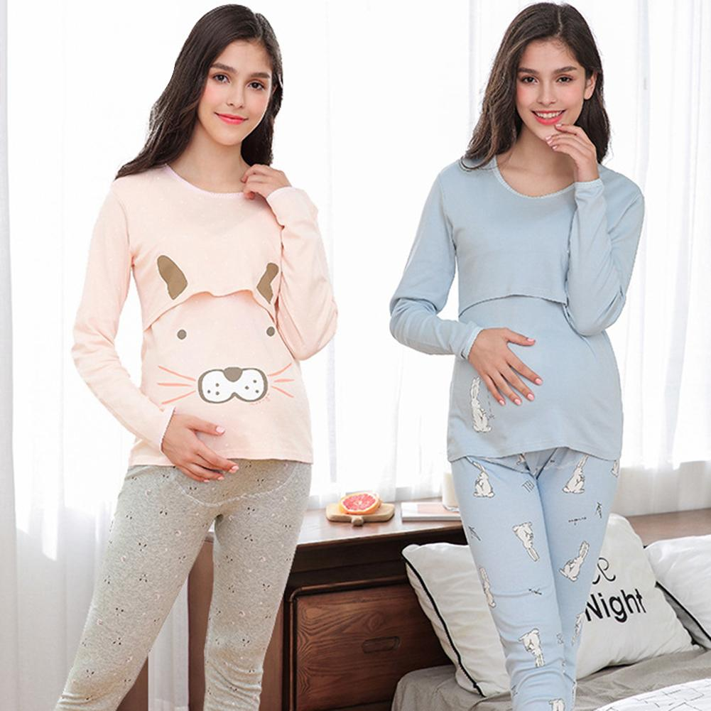 comfortable Specially easy breastfeeding design Cartoon Animal Maternity Nursing Pajama Set Long Sleeve Breastfeeding Top Pants(China)