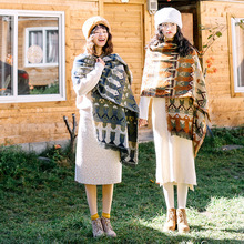 цена на Vintage art and art Sen large shawl tourism national wind warm honey girlfriend scarf autumn and winter women wild thickening