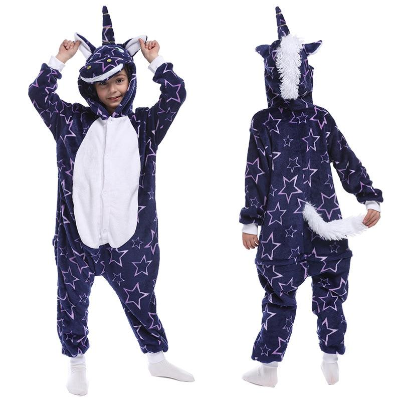 Flannel Unicorn for Kids Pajamas Boys Girls Sleepwear Children Panda Jumpsuit Kids oneises for Licorne Jumpsuit 6