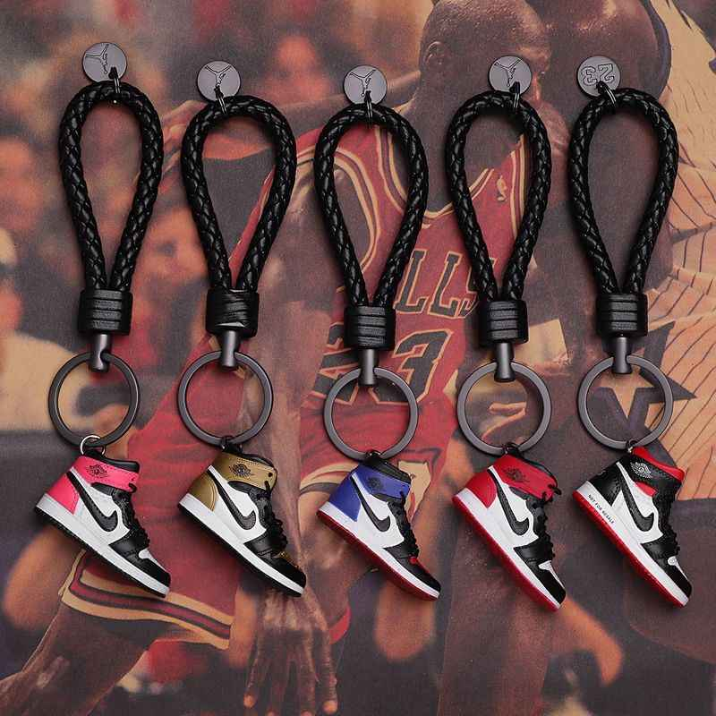 3D Air Jordan AJ1 Sneaker shoes Keychains Bag AJ Basketball Shoes Model Popular Gifter rope