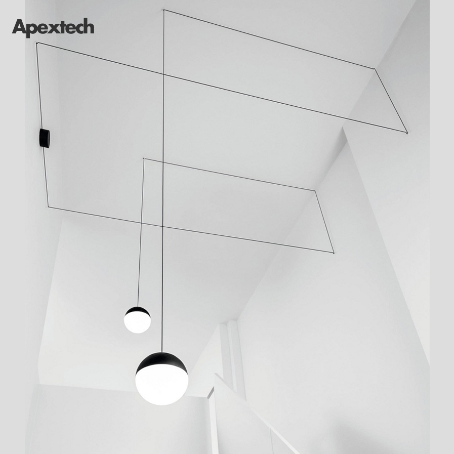 Minimalism LED Pendant Lights Post-modern Line Hanging Lamp Studio Stair Hall Corridor Office Front Desk Decor Light Droplight