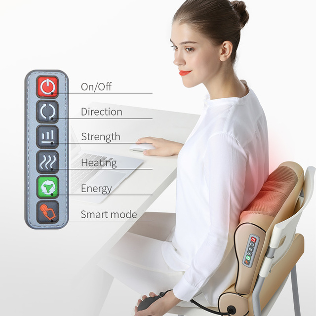 Neck Massage Pillow Electrical Cervical Traction Massager Wormwood Hot Compress Relief For Back Shoulder Pain Body Health Care 4